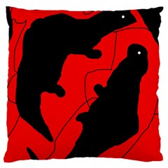 Black and red lizard  Large Flano Cushion Case (Two Sides)