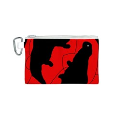 Black and red lizard  Canvas Cosmetic Bag (S)