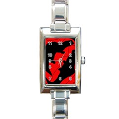 Black and red lizard  Rectangle Italian Charm Watch