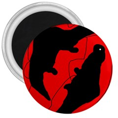Black and red lizard  3  Magnets