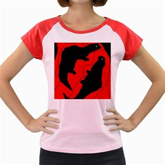 Black and red lizard  Women s Cap Sleeve T-Shirt