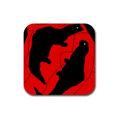 Black and red lizard  Rubber Square Coaster (4 pack)