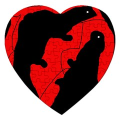 Black and red lizard  Jigsaw Puzzle (Heart)