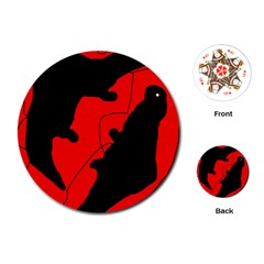 Black and red lizard  Playing Cards (Round)