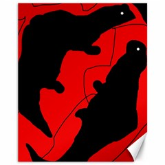 Black and red lizard  Canvas 11  x 14