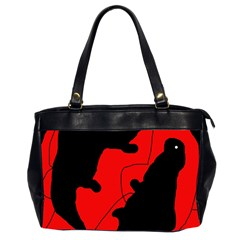 Black and red lizard  Office Handbags (2 Sides)