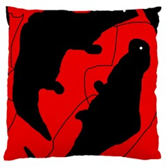 Black and red lizard  Large Cushion Case (Two Sides)