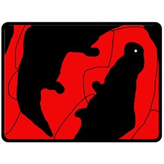 Black and red lizard  Double Sided Fleece Blanket (Large)