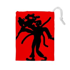 Abstract man Drawstring Pouches (Large)