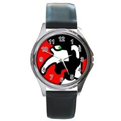 Man Round Metal Watch