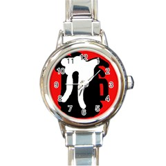 Red, black and white Round Italian Charm Watch