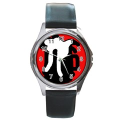 Red, black and white Round Metal Watch