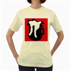 Red, black and white Women s Yellow T-Shirt