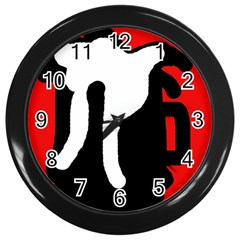 Red, black and white Wall Clocks (Black)