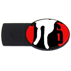 Red, black and white USB Flash Drive Oval (4 GB)