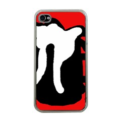 Red, black and white Apple iPhone 4 Case (Clear)