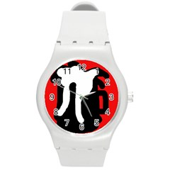 Red, black and white Round Plastic Sport Watch (M)