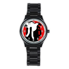 Red, black and white Stainless Steel Round Watch