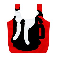 Red, black and white Full Print Recycle Bags (L)