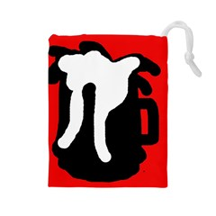Red, black and white Drawstring Pouches (Large)