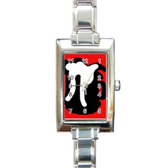 Red, black and white Rectangle Italian Charm Watch