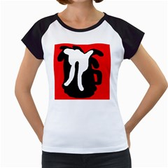 Red, black and white Women s Cap Sleeve T