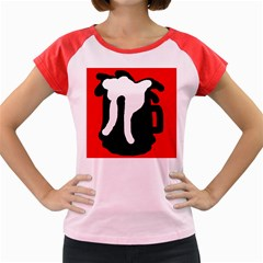 Red, black and white Women s Cap Sleeve T-Shirt