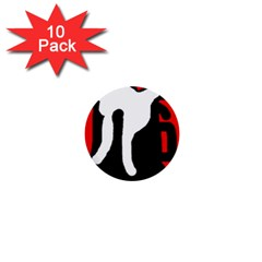 Red, black and white 1  Mini Buttons (10 pack)