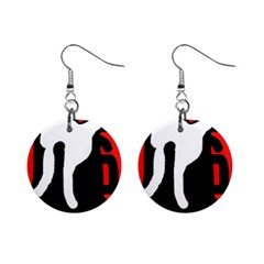 Red, black and white Mini Button Earrings
