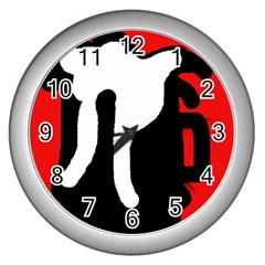 Red, black and white Wall Clocks (Silver)