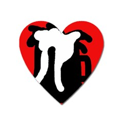 Red, black and white Heart Magnet