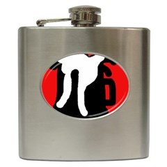 Red, black and white Hip Flask (6 oz)