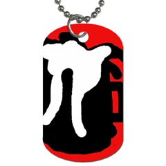 Red, black and white Dog Tag (Two Sides)