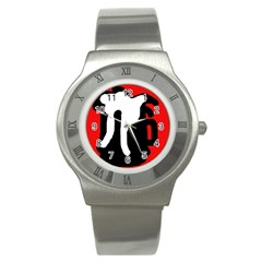 Red, black and white Stainless Steel Watch
