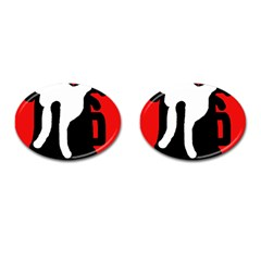 Red, black and white Cufflinks (Oval)