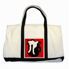 Red, black and white Two Tone Tote Bag