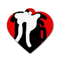 Red, black and white Dog Tag Heart (One Side)