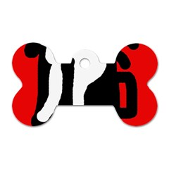 Red, black and white Dog Tag Bone (Two Sides)