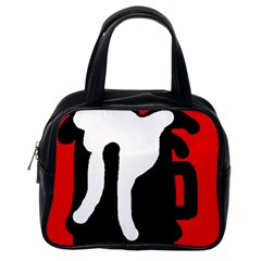 Red, black and white Classic Handbags (One Side)