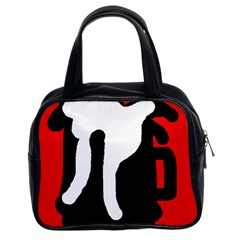 Red, black and white Classic Handbags (2 Sides)