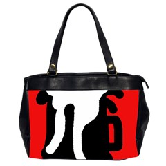Red, black and white Office Handbags (2 Sides)