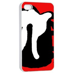 Red, black and white Apple iPhone 4/4s Seamless Case (White)