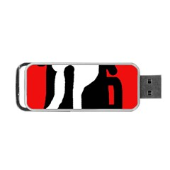 Red, black and white Portable USB Flash (Two Sides)