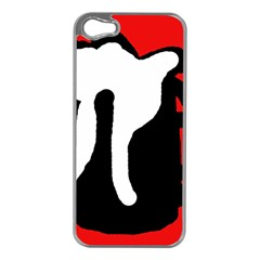 Red, black and white Apple iPhone 5 Case (Silver)