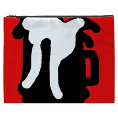 Red, black and white Cosmetic Bag (XXXL)