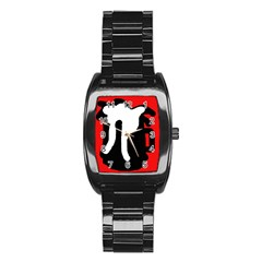 Red, black and white Stainless Steel Barrel Watch