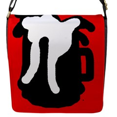 Red, black and white Flap Messenger Bag (S)