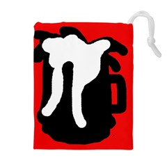Red, black and white Drawstring Pouches (Extra Large)