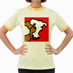 Artistic cow Women s Fitted Ringer T-Shirts