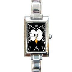 Black owl Rectangle Italian Charm Watch